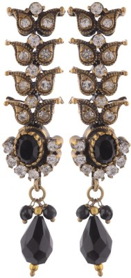 Sale Funda Black Golden Antique Onyx Alloy Stud Earring, Drop Earring
