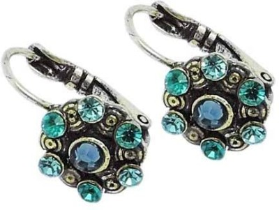 Sanaa Creations Attractive Pair of oxidized with Blue color stone Alloy Hoop Earring at flipkart