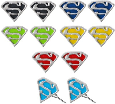 Rich & Famous Superman Inspired Combo Set Alloy Stud Earring