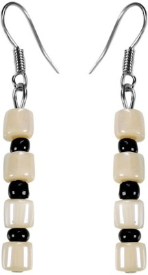 Crystals & Beads Opal White Barrel Bead & Onyx Black Colour Crystal Acrylic, Glass, Crystal Dangle Earring