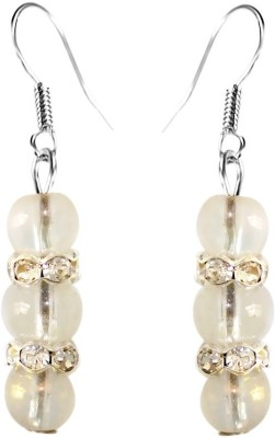 Crystals & Beads Opal White Colour Round Crystal with Diamond Spacer Acrylic, Glass, Crystal Dangle Earring