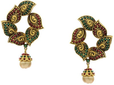 Pearls Cart Antique Golden Stone Studded Traditional Alloy Drop Earring