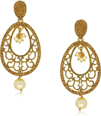 Spargz Fashionable Oval Studded with LCT Color Stone Alloy Drop Earring