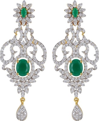 Moda Stella Vine Leaf Green Brass Chandelier Earring