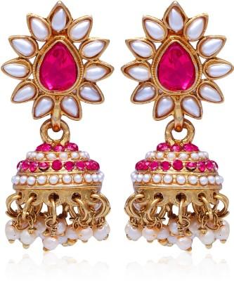 Kraft Central Golden Royal Jhumki style Pearl Alloy Jhumki Earring, Dangle Earring