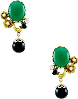 Orniza Oval Shaped Victorian Earrings in Emerald and Black Color Brass Drop Earring