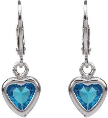 Vaishnavi Heavy Rhodium Plated Heart Design With Beautiful Shining Blue Cubic Zirconia Copper Dangle Earring