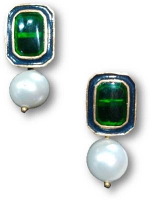 Rajgharana Green Cheker Cubic Zirconia Alloy Stud Earring