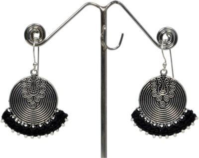 Angelfish Designer Thread work with German Silver Work Metal Dangle Earring