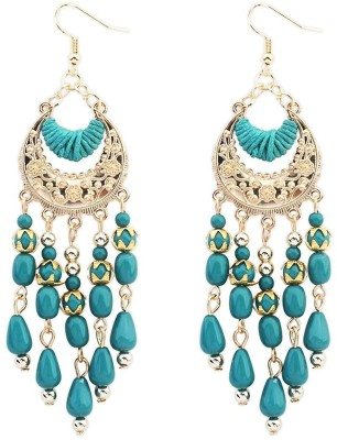 Mehrunnisa Blue Crystal Metal Dangle Earring