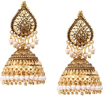 Giftmania Antique Paan Sparkle Pearl Brass Drop Earring