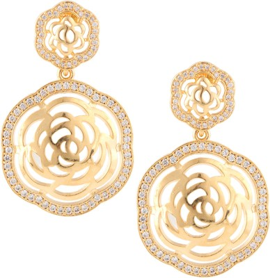 Beautiart Floral Gold Circular Cubic Zirconia Alloy Drop Earring