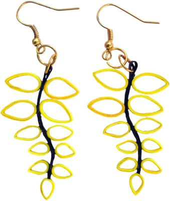 Designer's Collection Quilled Purple & Yellow Designer Paper Drop Earring
