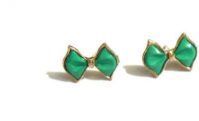 Bohocraft Bohemian Cute Green Bow Gold Metal Stud Earring