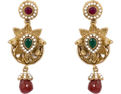 SBS Floral Desing Diamond Brass Drop Earring