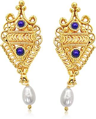 Surat Diamond Fairy Queen Lapis Lazuli, Pearl Metal Drop Earring