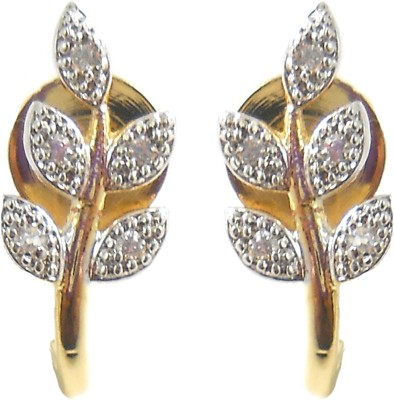Shubh 4u American Diamond Leaf Alloy Stud Earring