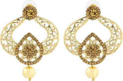 Naveli Gold Plated Filigree Yellow diamond With Pearl Copper Drop Earring