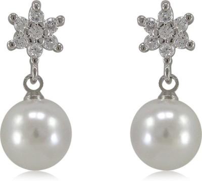 Fab Fashion Snowflake Pearls Shape Cubic Zirconia Silver Drop Earring