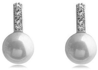 Silver Shoppee Pristine Cubic Zirconia, Pearl Metal Stud Earring