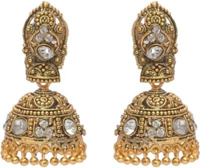 I Dream Works Flower Brass Jhumki Earring