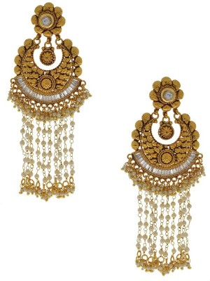 Anuradha Art Golden Polished Alloy Drop Earring