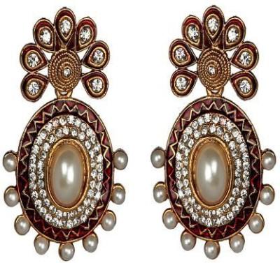 ACW Gold Plated White Stones Meenakari and Pearls Earrings for Women Alloy Dangle Earring