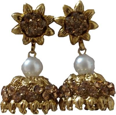 modifier golden alloy Crystal Alloy Jhumki Earring