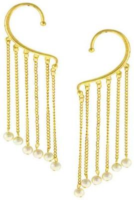 Bandish Multistranded Pearl Drop Kashmiri Style Alloy Cuff Earring