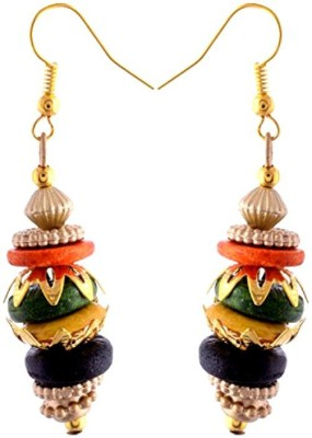 Gliteri multicolour golden Wood Dangle Earring