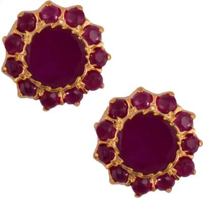 Mahaveer Pearls Graceful Pink Brass Stud Earring