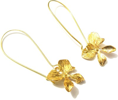 Bohocraft Bohemian Orchid Gold Plated Metal Drop Earring
