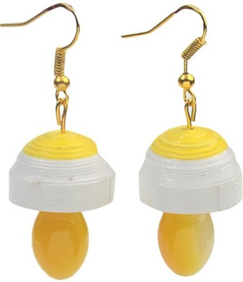 Rivory Bros Sparkle Quilled Yellow Paper Dangle Earring