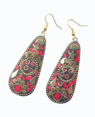 Pearls India Star Red Metal, Lac Dangle Earring