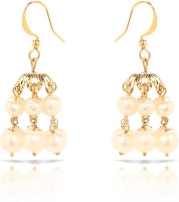 Oviya Bright Party Pearl Brass, Alloy Jhumki Earring