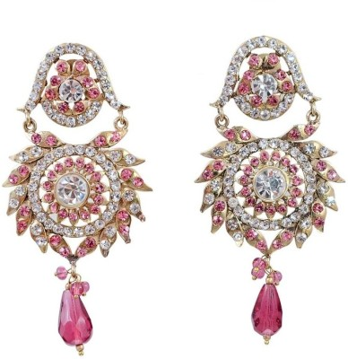 Jaipur Mart Crystal Brass Dangle Earring