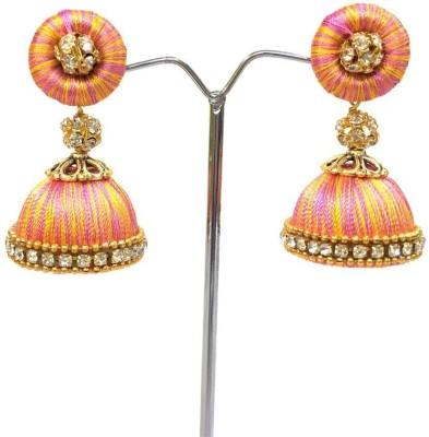 Ovis Creations OXIDIZED CAP SILK JUMKKA Silk Dori Jhumki Earring