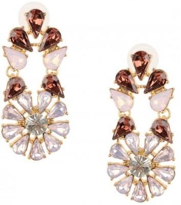 Oomph Gold & Maroon Crystal Fashion Jewellery for Women, Girls & Ladies Crystal Metal Drop Earring