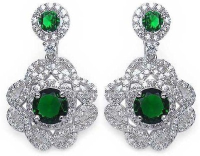 Johareez Floral Cubic Zirconia Sterling Silver Clip-on Earring