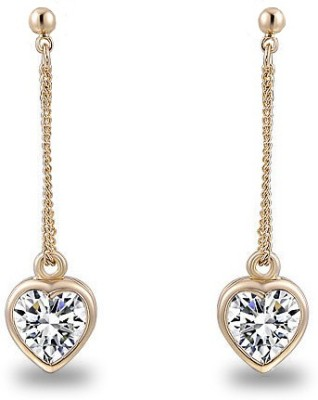 Silver Shoppee Valentine Special Crystal Brass Drop Earring