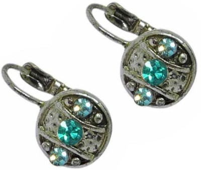 Sanaa Creations Beautiful Pair of Oxidized with Blue color stone Alloy Hoop Earring