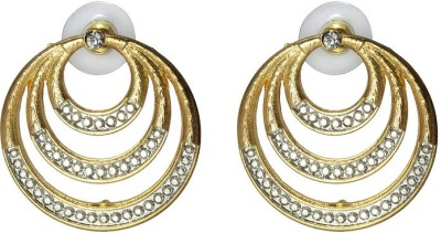 Aanya Creations Alloy multi circle design with high quality silver and golden colours polish work Alloy Stud Earring
