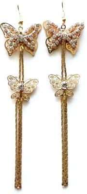 Sansar India Rhinestone Butterfly Long Chain Double Layers Dangle Alloy Tassel Earring