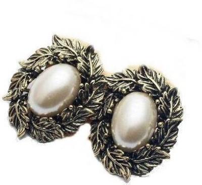 French Aura Bohemia baroque leaves Alloy Stud Earring