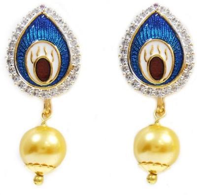 MK Jewellers DESIGNER BLUE DPEACOCK FEATHER CZ EARING MEENA Enamel Dangle Earring