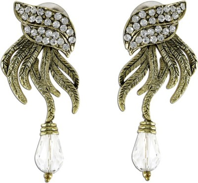 The Fine World New Age Design Stone And Gold Zircon Metal Drop Earring