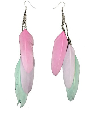 Ammvi Tri- Pastel Shades Feather For Women Alloy Dangle Earring