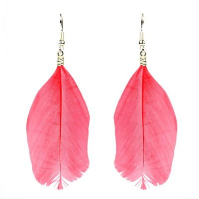 Colors of Sin Feather earrings Red Fabric Dangle Earring, Drop Earring