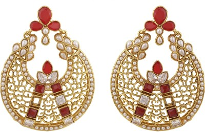 Rajwada Arts Jali Work Red Colored Brass Chandbali Earring