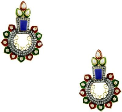 Orniza Victorian Earrings in Multi-Colour Color and Black Gold Polish Brass Dangle Earring